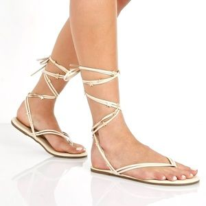 TKEES Lily Wrap Gold Star Gladiator Flat Sandals